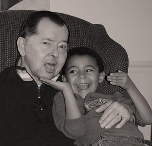 Dad and Zander BW