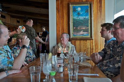 The official cake and a serenade by the Hawaiian musicians.