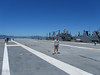 About mid-way on the flight deck of the Hornet.