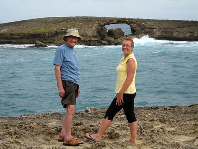 Dad and Lynne at Laie point, the natural arch in the background