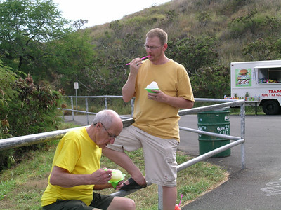 Dad and Allen enjoying a shave ice at the Diamond head lookout