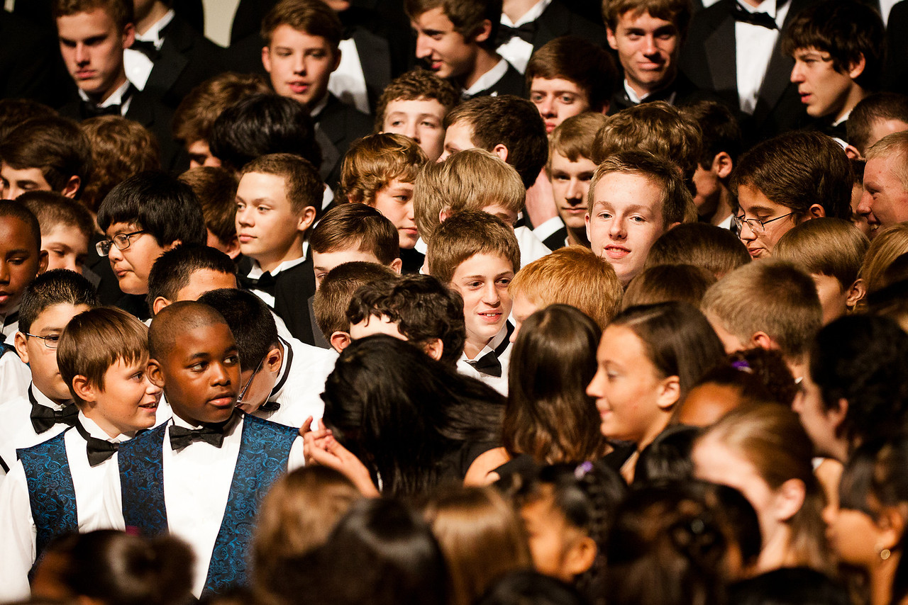 Junior High and High School choirs combine for the final number.