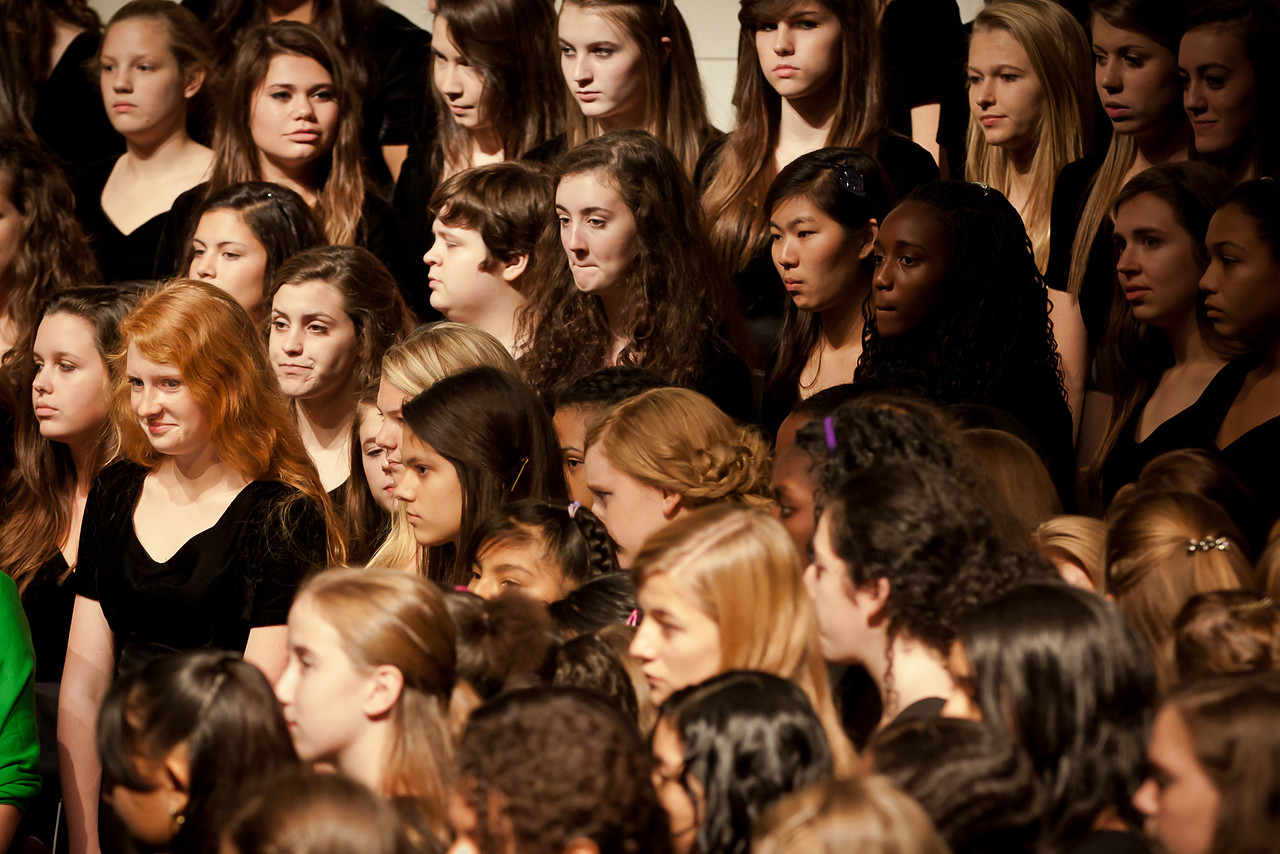 Combined high school and junior high choirs.