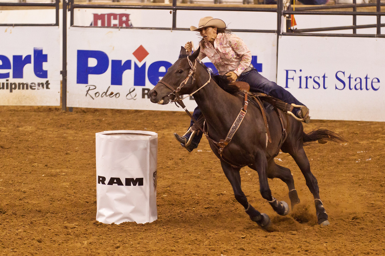 Barrel racing at the Mesquite Rodeo.