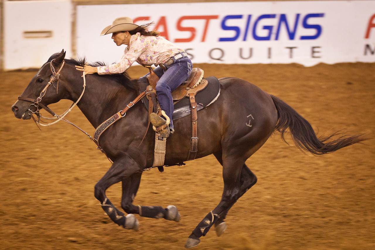 One of the riders in the barrel racing at the Mesquite Rodeo.