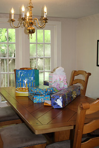 Moved to our dining room table - which is finally free of all the crap from the shelves (that fell down in April!!)