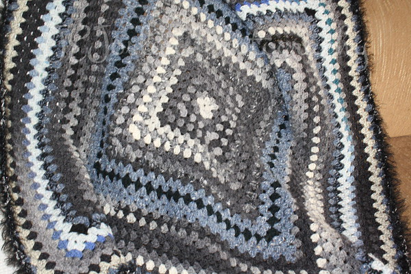 Blanket for New GS1, to be born late April 2009, grays and blues in a granny square motif.
