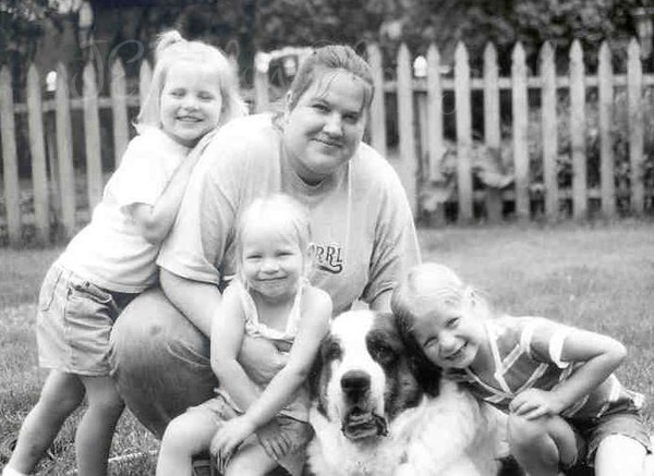 Auntie A and three favorite little nieces, plus Saint Bernard, P-Nut.  6-05.   (G 5.5, C 3.5, P 6.5),