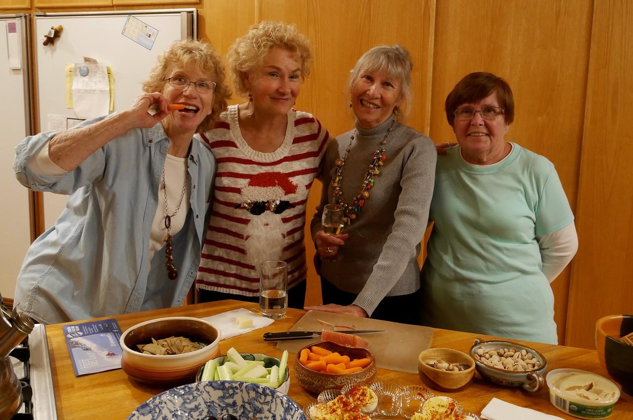Judy B, Judy S, Anita, and Fran at Lucia potluck.