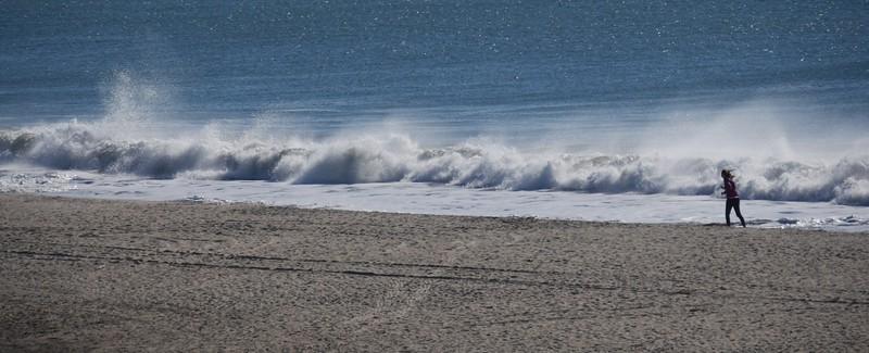 Big surf at beach in Santa Cruz.