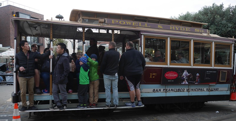 The SF cable cars at Fisherman's Wharf.