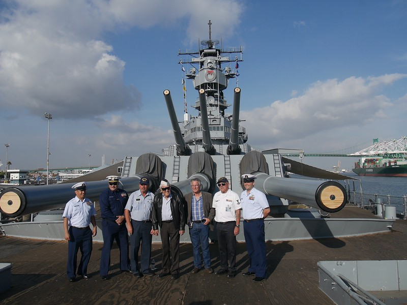 The IOWA destroyer in San Pedro. The man in the middle is a Pearl Harbor survivor.