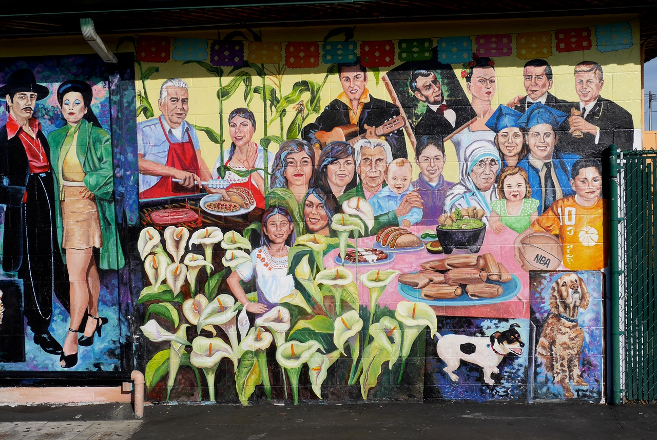 """This beautiful mural is painted on the outside of """"Tacos de Mexico"""" in  Morro Bay. See how many of the people you can identify."""