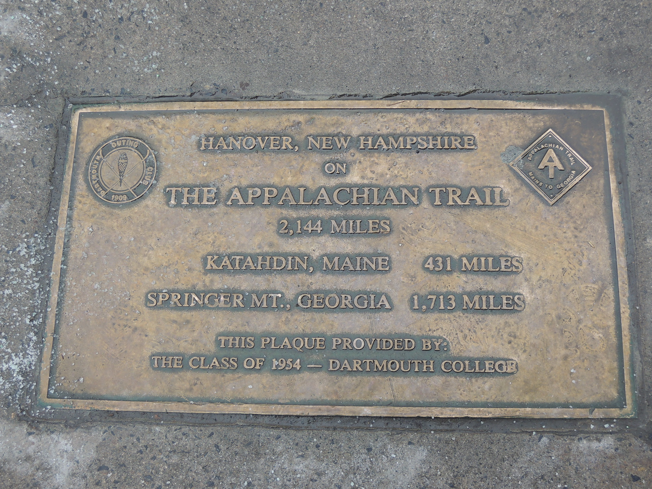 I didn't realize Hanover is on the Appalachian trail.  This is set into the sidewalk downtown.