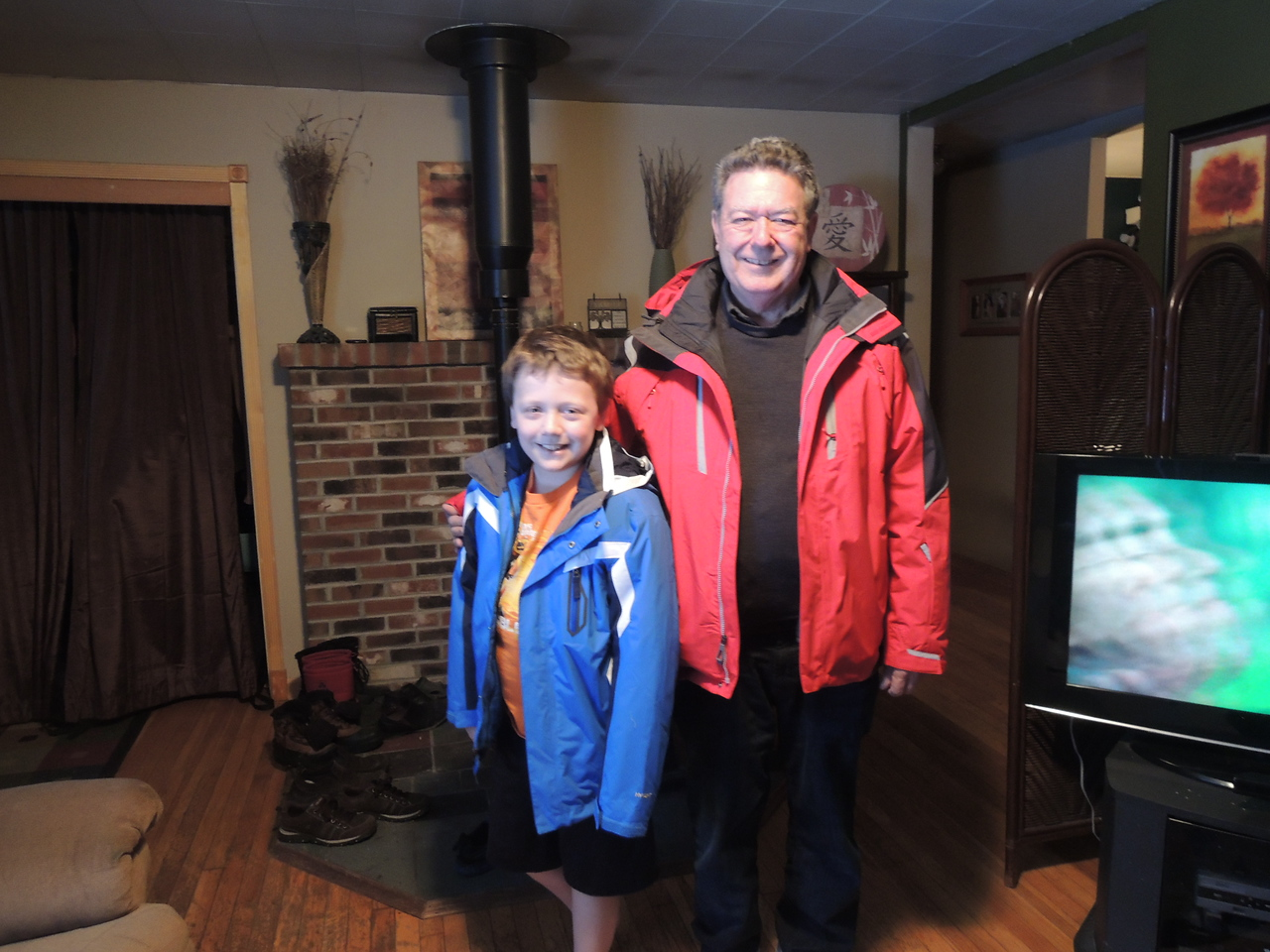 Connor and grandpa in their new jackets.
