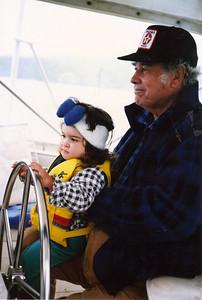 Captain Davene driving Grandpa's boat