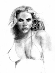 David did not believe he was good enough to draw people, so I challenged him to do just one. He copied this off of a magazine cover, one he used to subscribe to that I cannot remember the name of. Her name is Willa Ford, and I hope she does not mind his rendition of her.