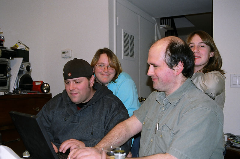 The next three photos were taken on David's 25th birthday, two and a half weeks before his suicide. They are rare moments of him smiling and having a good time with his sister Adrianne, brother in law Fred and Fred's youngest daughter Claire.