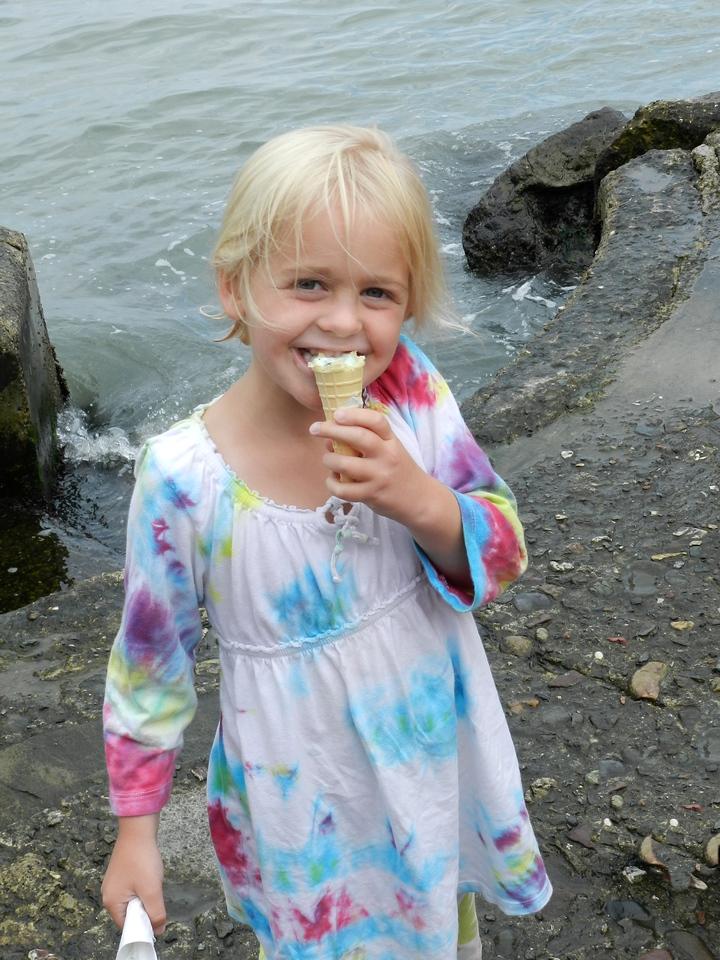 Allegra enjoying her ice cream.