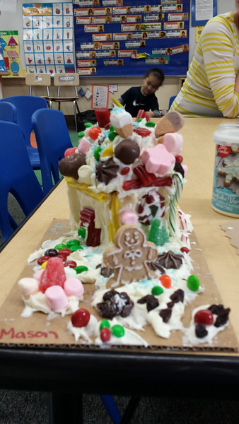 Mason's gingerbread house (with Sean in the background)