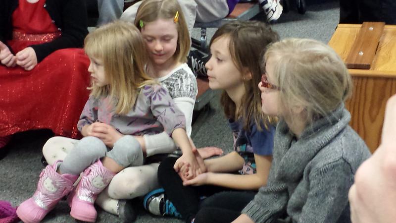 MJ sitting on Lila's lap, Jaidyn, Katie
