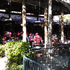 members of Red-Hat-Club dining in the courtyard at Julieanna's (we ate inside)
