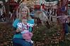 Mommy, Hallie, and a reindeer!