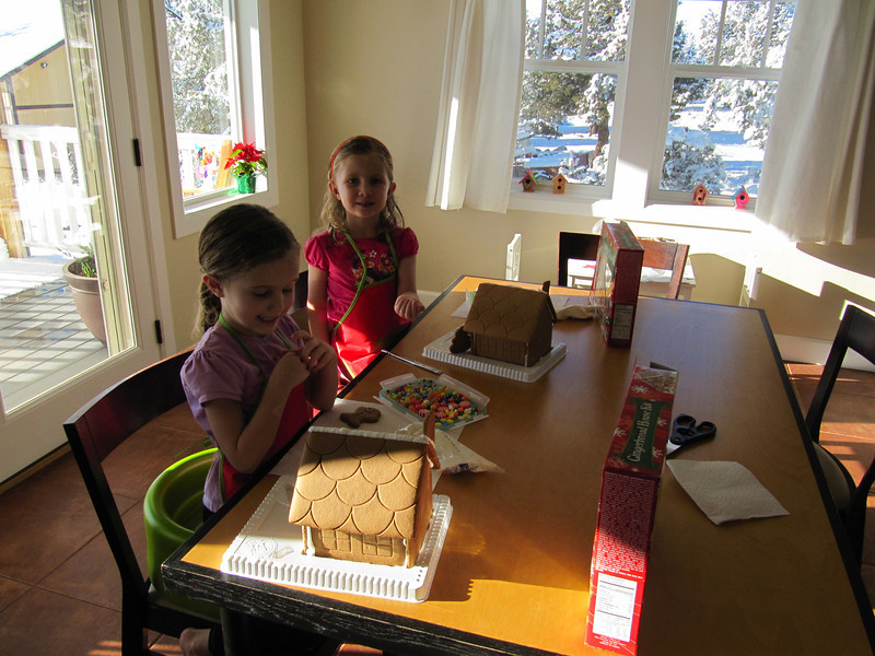 Making Gingerbread Houses that Oma brought!