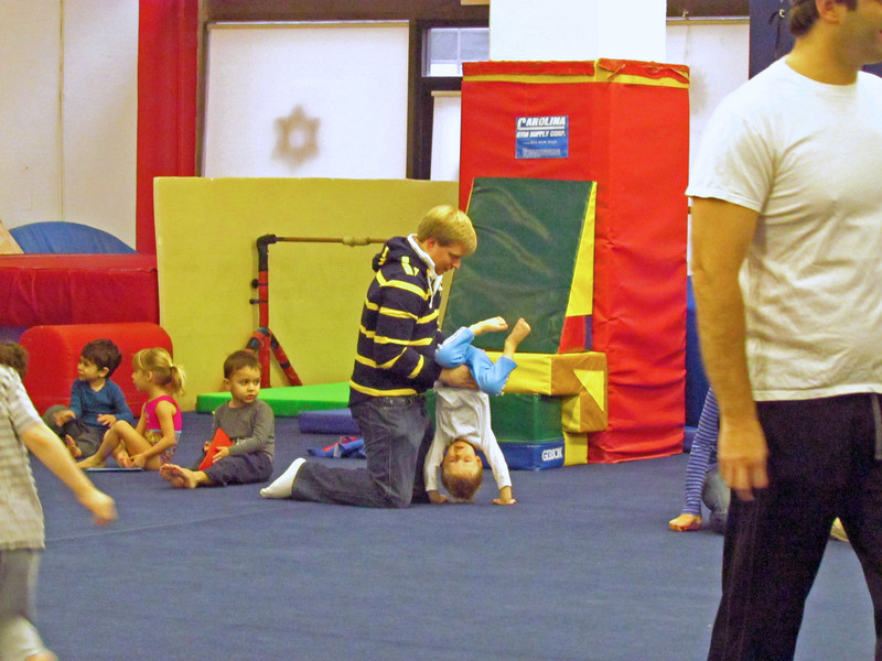 Ryan helps Charlie with a handstand, NYC Elite gymnastics, 12/1/2012