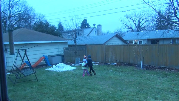 Dec 6-8th, snow, Lexie and Kyle playing