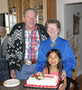 John Precup, Dena & Stefi, celebrating Dena's 81st birthday and Stefi's 7th birthday