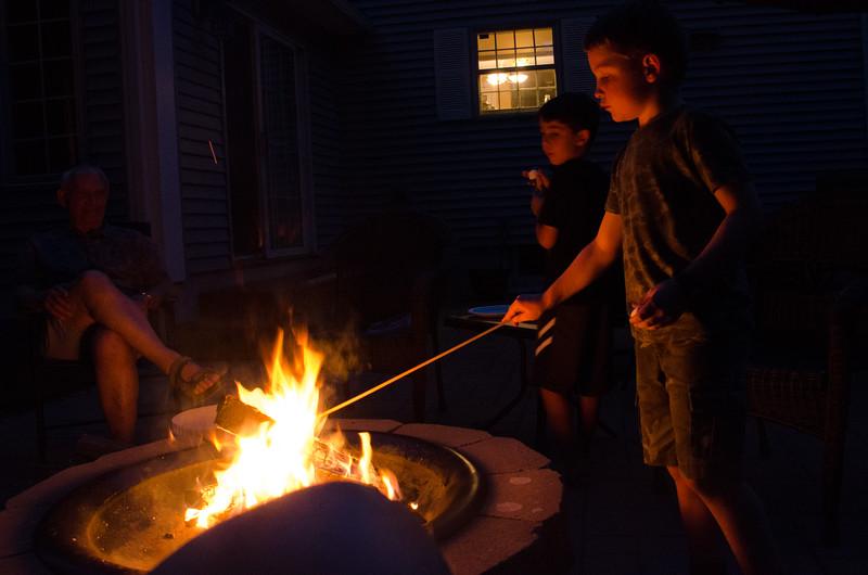 Gabe roasting marshmallows