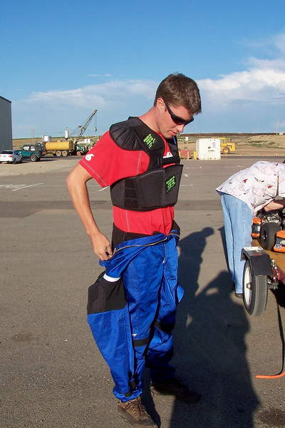 Wearing a rib protector and a abrasion/ fire suit.