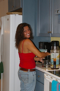 Debra making coffee at 4:00 in the afternoon (those Lindholms are crazy)