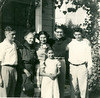 June, 1953, celebrating Ron's graduation from Berkeley High school. Present are Conrad Pavellas, his Aunt Genevieve Harpending Palladius, Artemis Pavellas, cousin Nestor Palladius, brother Ron, and Diane in front.