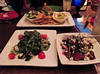 From the top going clockwise: Seafood Tapas Sampler, Pear and Beet Salad, and Octopus Salad.