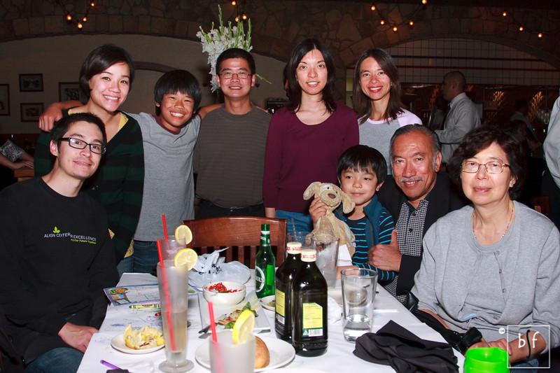Kirk, Ly, Andrew, Greg, Marium, Shalimar, Cyrus, Wor Wor, Mr. Arculli and Mrs. Arculli at Macaroni Grill.