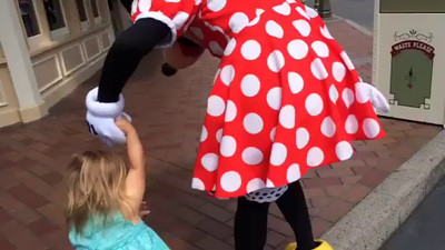 VIDEO- Abigail and her new friend, Minnie Mouse, Disneyland, May 2014