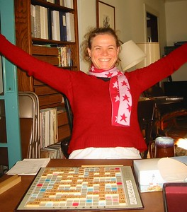 Djuna wins a Scrabble game with a HIGH score!