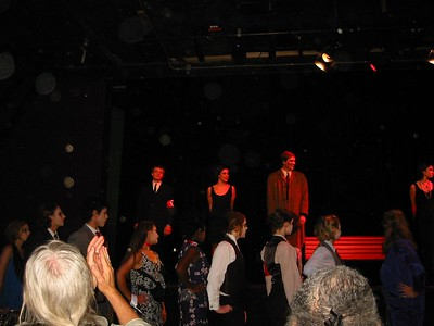Curtain call after the musical Cabaret.  Abe at back left, playing Ernst Ludwig (the Nazi).