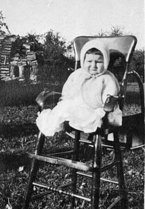 Dorothy Mowen - Don's Mother. The high chair has been used by 4 generations and is still in good condition as of 2013 - ready for another generation!