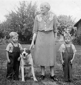 Cora Mowen - Don's maternal Great Grandmother. Cora was the mother of Leland Mowen and wife of Leroy Mowen. Children in the picture are Don (left) and his brother Bob.