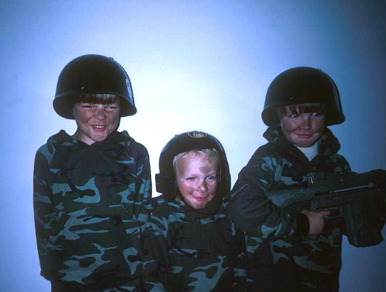 Boys in  Army Halloween costumes
