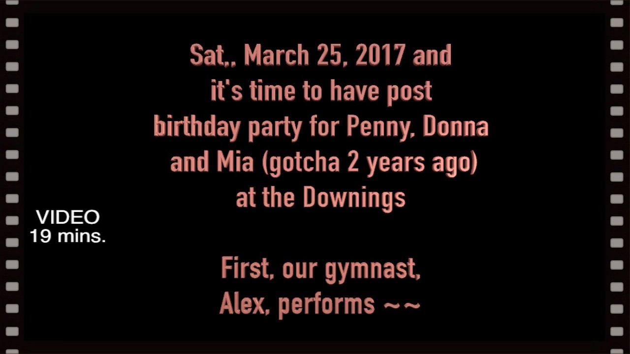 VIDEO:  19 MINS ~~ Post birthday party for Penny, Donna & Mia (Gotcha 2-years ago) at the Downings.  Sat., March 25, 2017