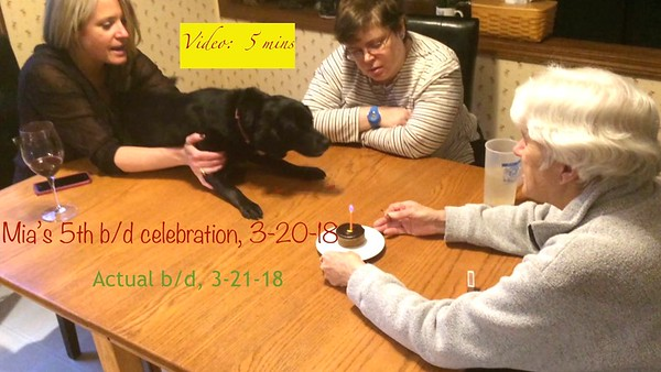 VIDEO: 5 MINS -MIA'S BIRTHDAY Celebration, 3-20-18, birthday is 3-21