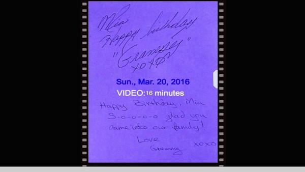 VIDEO:  16 minutes -- Mia's birthday party 03-20-2016