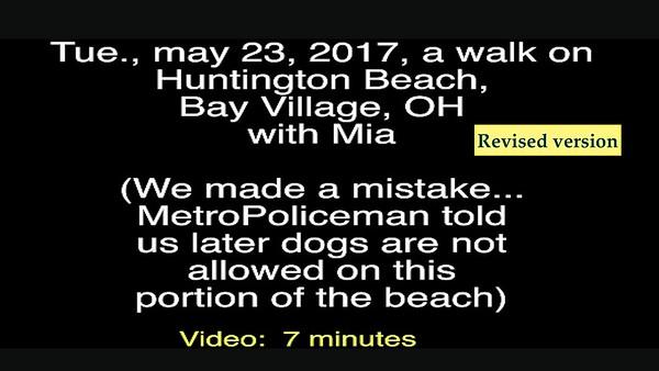 Video:  (Revised) 7 minutes ~~ Mia, Tue, May 23, 2017 at Bay Village, Huntington Beach, OH (Lake Erie)