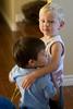 """Donovan hugging his buddy, Kayden, a.k.a. """"Boogie."""""""