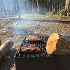 Steaks on the open fire