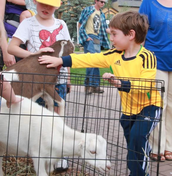 Luke Petting a goat